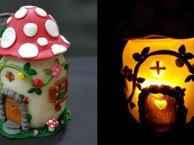 DIY Mushroom Fairy Jar.DIY Fairy Lantern.DIY Mushroom Light.Fairy garden.Fairy jar