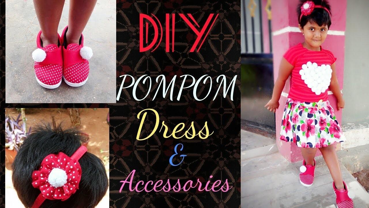 DIY POM-POM Dress and Accessories for kids | kids headband | kids shoe