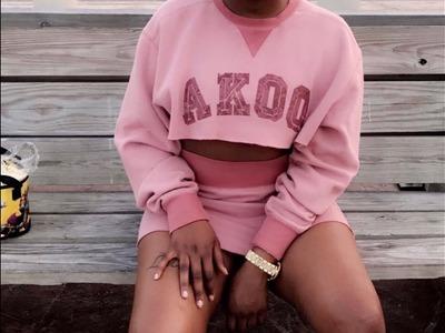 DIY: Sweatshirt into Crop Top and Skirt