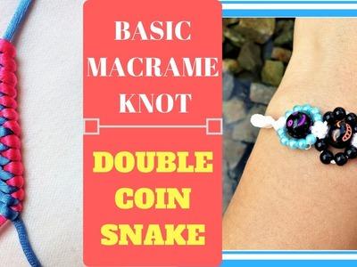 Double coin snake knot - Basic macrame tutorial - Applying to make simple bracelet