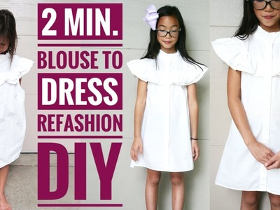 EASY DIY: 2-min. BLOUSE TO DRESS REFASHION || How to Upcycle Clothes