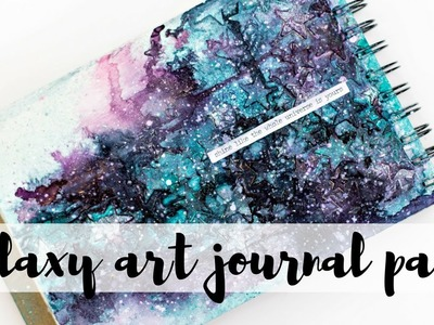 Easy mixed media Galaxy art journal page tutorial