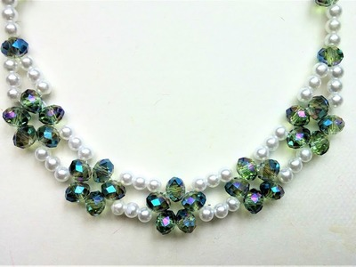Elegant bridal necklace. Beading tutorial for beginners