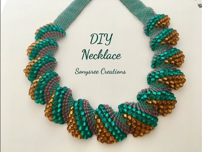 Flat Cellini Stitch Beaded Necklace ( Super Easy Tutorial) ????????