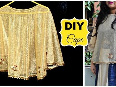 How to make a Cape | DIY Cape for Dresses, Sarees or Lehenga | DIY Stylish Poncho