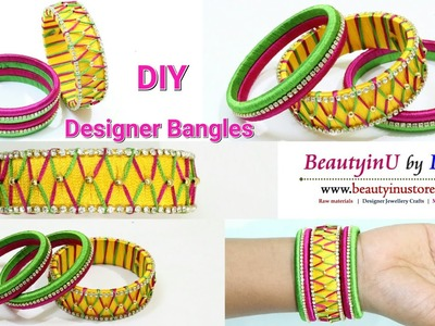 How To Make Designer Silk Thread Bangles at Home | Designer Bangle | Tutorial |Silk Thread Jewellery