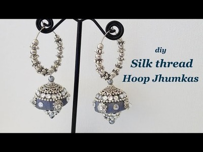 How to make silk thread jhumkas hoop style||ring model jhumkas||Tutorial
