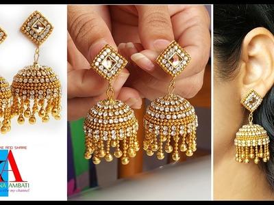 Making of Designer Silk Thread Bridal Jhumka Earrings at home || making tutorial