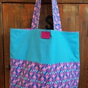Pink and Blue Aztec Market Bag