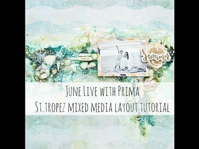 Prima Marketing St.Tropez mixed media layout tutorial