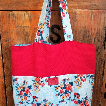 Red floral market bag