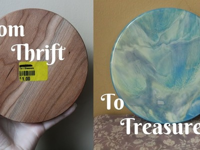 Resin Painting Tutorial on Wood Using Pebeo, and Spray Paint. FROM THRIFT TO TREASURE! #1