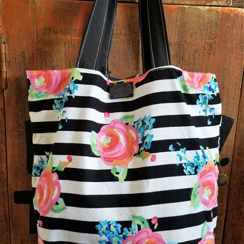 Stripes and Roses Market Bag