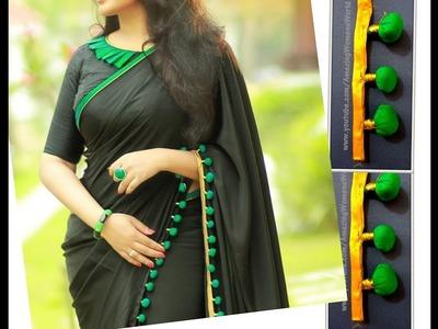 Turquoise Pom Pom Lace Making for Designer Sari. Stole. Dupatta | DIY
