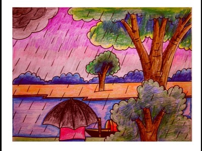 Village Scenery Drawing | Rainy Season Beauty-Art Tutorial 2017