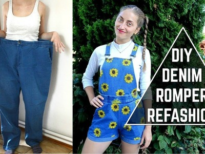 DIY Denim Sunflower Romper. DIY slnečnicový overal (SK,EN sub)