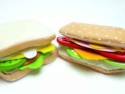 DIY Felt Food Sandwich Set Baguett Taco for Kids