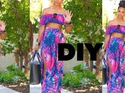 DIY. HIGH WAIST GATHER SKIRT WITH SPLIT. ELASTIC BAND METHOD. HOW TO GATHER FABRIC .
