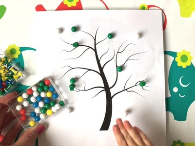DIY HOW TO video for kids - Montessori activities - Pushpins - Season tree