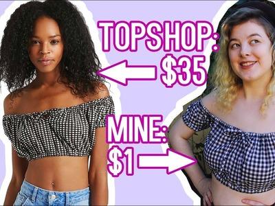 DIY Off Shoulder Crop Top   Make Thrift Buy #57