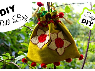DIY Potli Bag | How to make a Potli Bag (Batua) at home || Pompoms & Tassels
