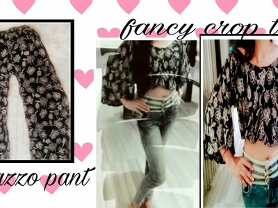 DIY: recycle old palazzo pant into a fancy crop top