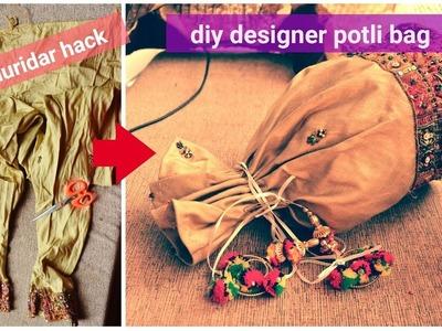 DIY:reuse.convert.turn old churider.cloth into bag|make potli bag.batua from old.waste cloth.legging