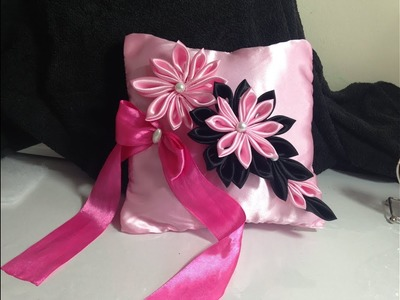 DIY the most beautiful wedding cushion.princess cushion in pink and black with kanzashi flowers