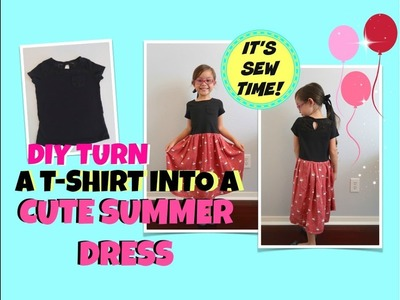 DIY TURN A T-SHIRT INTO  A SUMMER  DRESS FOR ALL AGES | BEGINNER SEWING  NO PATTERNS!