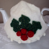 Holly & berry hand crafted tea cosy