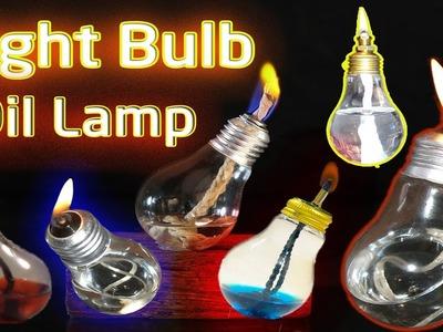 How to Make Light Bulb Oil Lamp - DIY make light bulb At Home