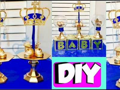 Inexpensive DIY Royal Prince Party Centerpieces | DIY Baby Shower ideas (dollar store edition)