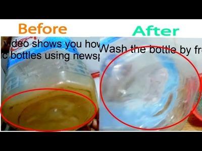 Plastic Bottle  Cleaning Life Hack using Newspaper | DIY | zubairmedia