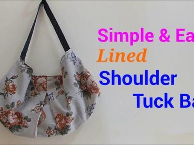 【DIY】簡単裏地付き*タックショルダーバッグの作り方*Lined shoulder Tuck Bag*