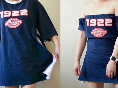 UpCycle DIY LARGE TSHIRT TO OFF THE SHOULDER DRESS. Men's Tshirt Transformation turned Dress