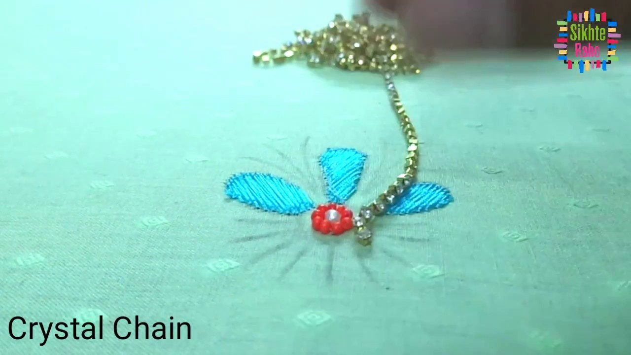 Basic flower design thread and pearls stitch hand