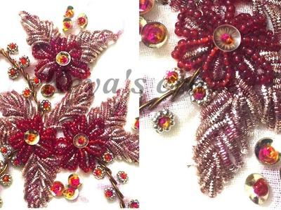 Bead hand embroidery(karchupi.zardosi type work with regular needle)|Keya's craze|hand embroidery-77