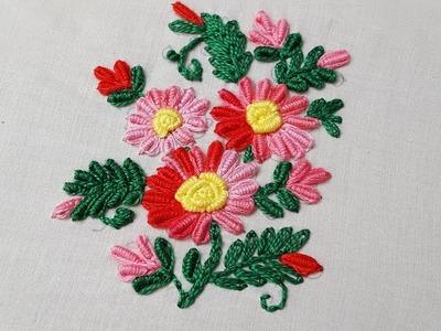 Bullion knot stitch flower bullion stitch :hand embroidery
