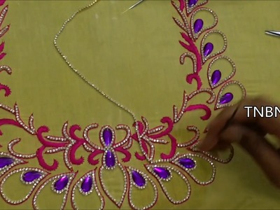 Designer blouse designs | basic embroidery stitches | hand embroidery tutorial for beginners
