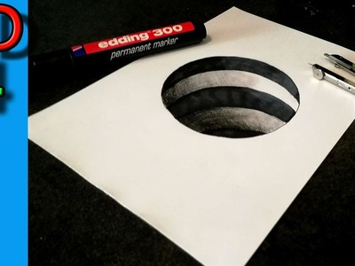 Easy 3d Draw a Hole in your paper !  3D drawing for kids