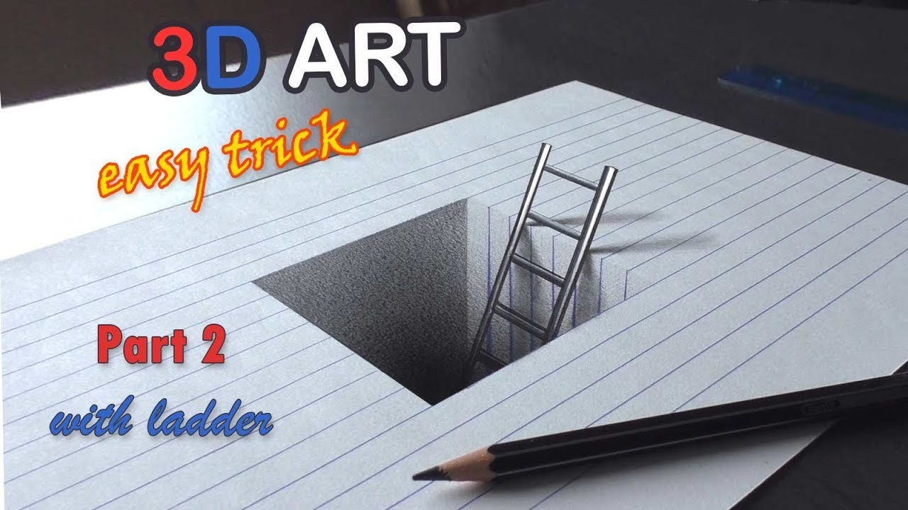Easy Drawing Of A Hole With Ladder 3d Trick Art For Kids