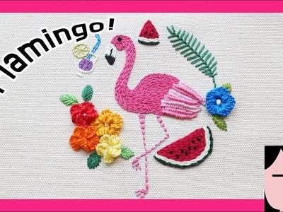 Flamingo hand embroidery EP01 needle weaving bar stitch 플라밍고 프랑스자수