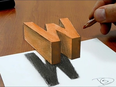 Floating letter W 3D Trick Art on Paper
