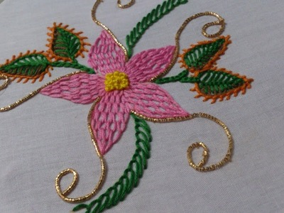 Hand embroidery designs. Hand embroidery stitches tutorial. Wave stitch flower.