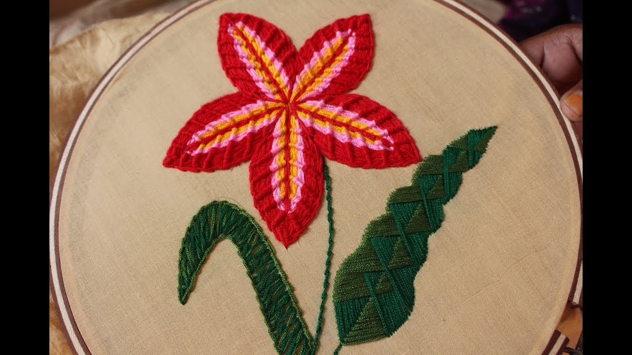 Hand embroidery designs step by single flower