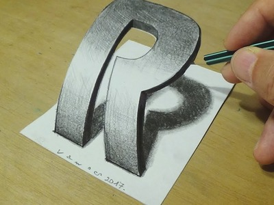 How to Draw 3D Letter - Drawing Curved Letter R - Trick Art on Paper for Kids and Adults