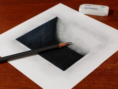 How to Draw 3D Square Concrete Hole - Easy 3D Illusion - Trick Art on Paper