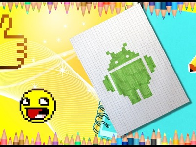 How to draw Android logo easy step by step. Pixel Android logo