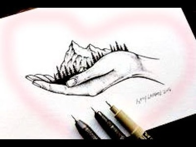 How to draw Mountain Art on Hand - Cool 3D Trick Art | step by step | tutorial