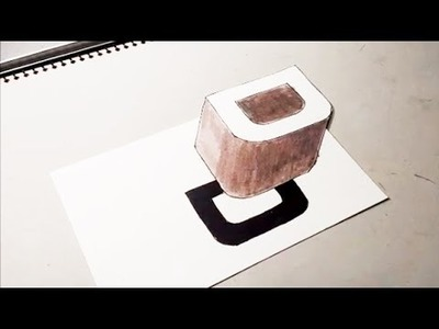 """How To Drawing 3D Floating Letter """"D"""" #1 - 3D Trick Art for Kids on Paper (Anamorphic Illusion)"""